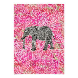 Pink Tribal Paisley Elephant Henna Pattern Poster