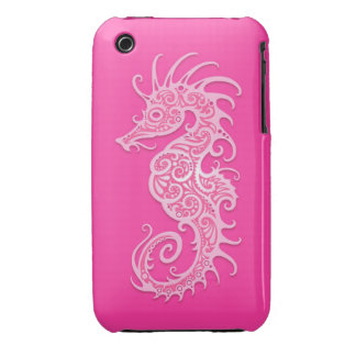 Pink Tribal Seahorse iPhone 3 Case