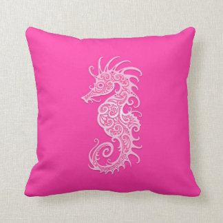 Pink Tribal Seahorse Cushion