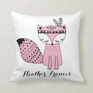 Pink Tribal Woodland Fox Baby Girl Modern Nursery Cushion