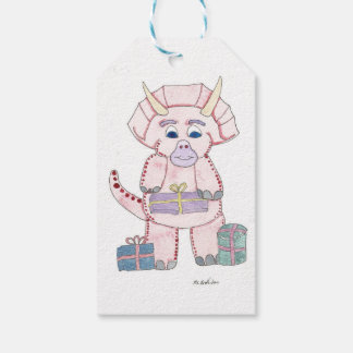 Pink Triceratops Gift Tags