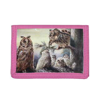 Pink TriFold Nylon Wallet - Owls