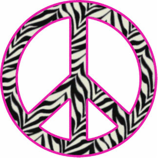 Pink Trimmed Zebra Peace Sign Standing Photo Sculpture