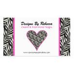 Pink Trimmed Zebra Print Heart Business Card