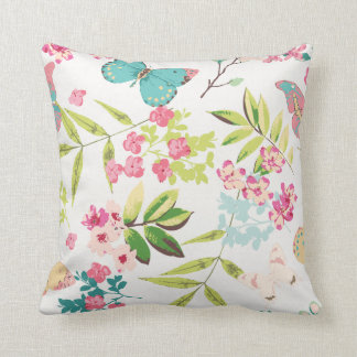 Pink Tropical Butterfly Floral Girly Flower Print Throw Pillow