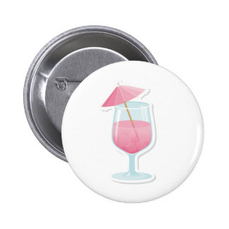 Pink Tropical Cocktail 6 Cm Round Badge