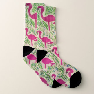 Pink Tropical Flamingo Socks 1