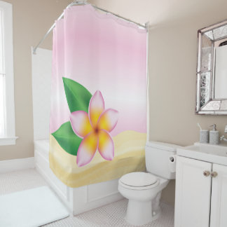 Pink Tropical Frangipani Flower At The Beach Shower Curtain