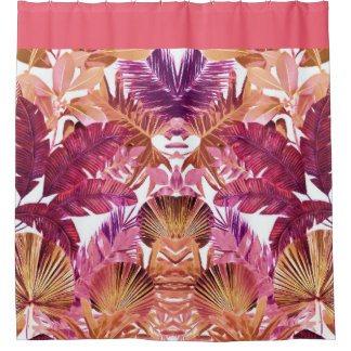 Pink Tropical Leaf Pattern Shower Curtain