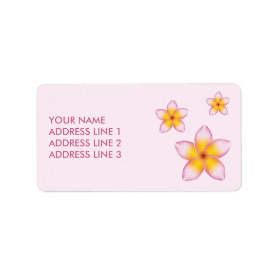 Pink Tropical Plumeria Flowers And Custom Info Address Label