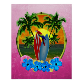 Pink Tropical Sunset Poster