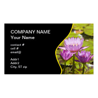 pink tropical water lilies business card template
