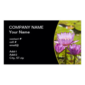 pink tropical water lilies business cards