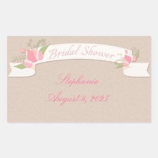 Pink Tulip Banner, Bridal Shower Rectangular Sticker