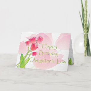 Pink Tulip Birthday Card For Daughter In Law