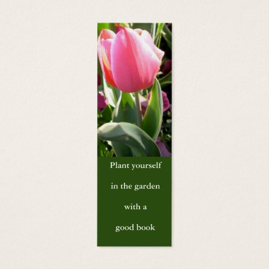 pink tulip bookmark mini business card