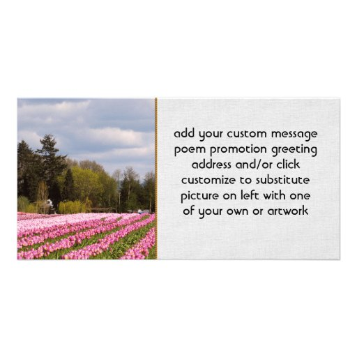 Pink Tulip Field Personalized Photo Card