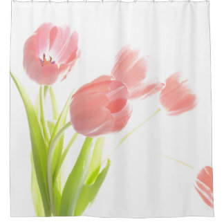 Pink tulip flower shower curtain