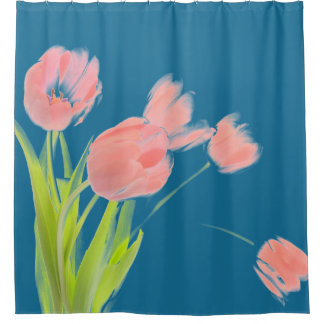 Pink tulip flower shower curtain blue