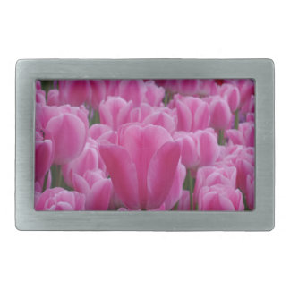 Pink Tulip Flowers Belt Buckle
