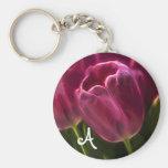 Pink Tulip Fractal with Monogram Basic Round Button Key Ring
