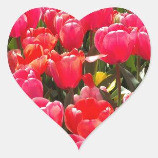 Pink Tulip Garden Heart Sticker