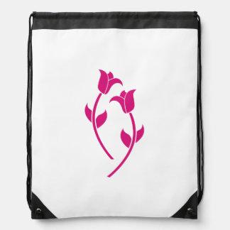 Pink Tulip Graphic Drawstring Bag