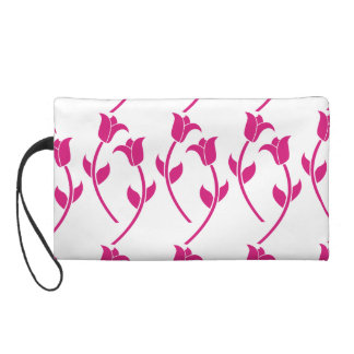 Pink Tulip Graphic Wristlet Clutches