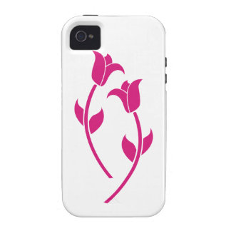 Pink Tulip Graphic Vibe iPhone 4 Cases