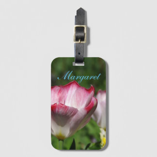 Pink Tulip in the Garden Luggage Tag
