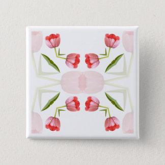 Pink Tulip Kaleidoscope Pattern 15 Cm Square Badge