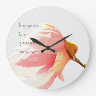 Pink Tulip Tree Flower with Happiness Quote Large Clock