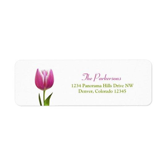 Pink Tulip Wedding Return Address Labels