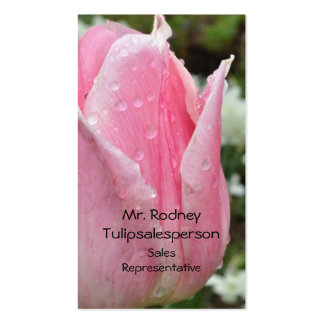 Pink tulip with raindrops pack of standard business cards