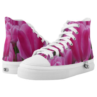 Pink Tulip Zipz High Top Shoes,White