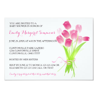 Pink Tulips - 3x5 BABY Shower Invitation