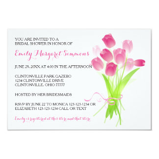 Pink Tulips - 3x5 Bridal Shower Invitation