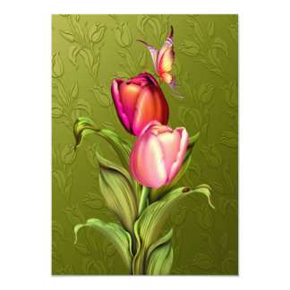 Pink Tulips 5x7 Paper Invitation Card