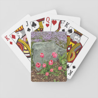 Pink Tulips Against Gray Rock - Mother's Day Playing Cards