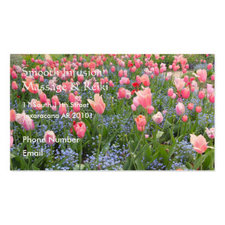 Pink Tulips and Forget-Me-Nots Business Cards