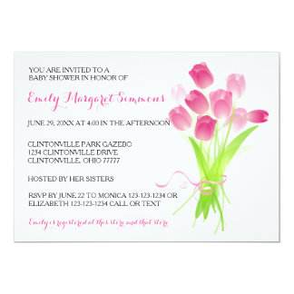 Pink Tulips - BABY Shower Invitation