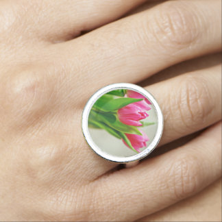 Pink Tulips Background Ring