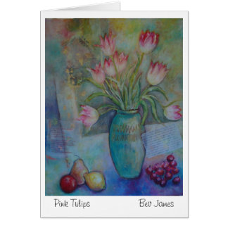 Pink Tulips blank greetings card original artwork