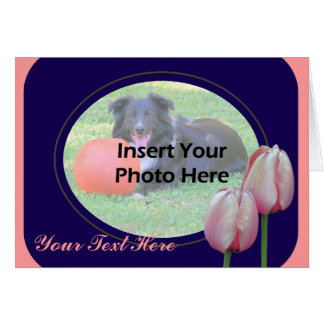 Pink Tulips Design Floral Photo Card