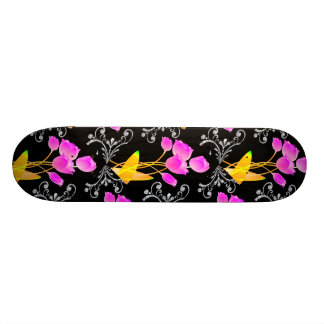 Pink Tulips Diamond Like Scroll Sparkle Skateboard