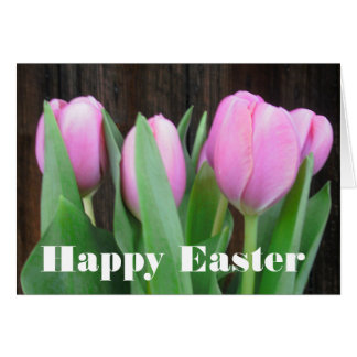 Pink Tulips Easter Greeting Card