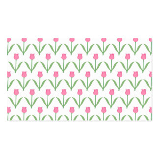 Pink Tulips Floral Pattern Business Card