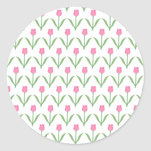 Pink Tulips Floral Pattern Round Stickers