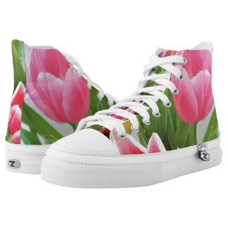 Pink Tulips Floral Photography Happy Springtime High Tops