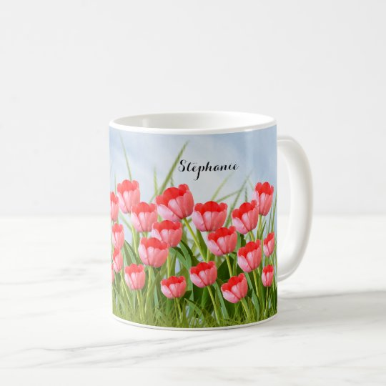 Pink Tulips Floral Photography Spring Collage Coffee Mug